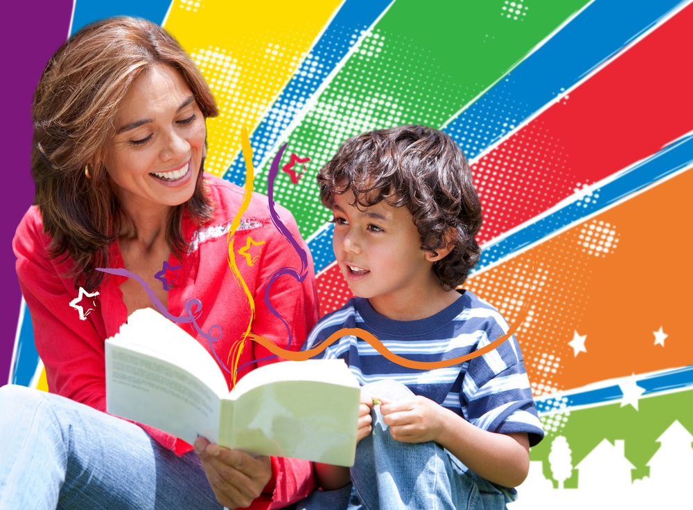 Woman reading to her son over a colorful background.jpeg